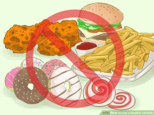 The illustration of unhealthy fast foods, such as fried chicken and french fries.