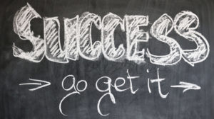 The chalkboard illustration of success, go get it.