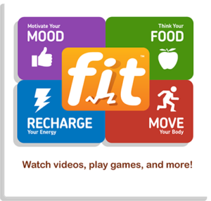 The very colorful picture of fit, by recharge, Mood, Move, and Food.