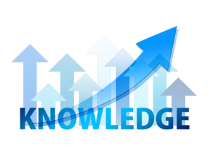 The very colorful illustration of knowledge with arrows pointing upwards.