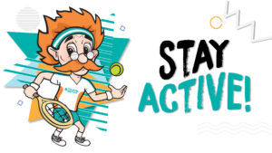 The animated picture of a older man playing tennis, and saying stay active.