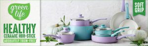 The amazing picture of a 16 pc Green life soft handle cookware set.
