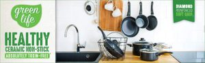 The amazing picture of Greenlife cookware dispalyed in a kitchen.