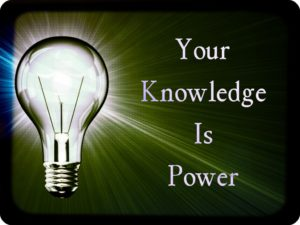 The picture of a light, alumunating on the words, Your Knowledge Is Power.