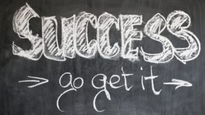 The chalkboard illustration of success, and go get it.