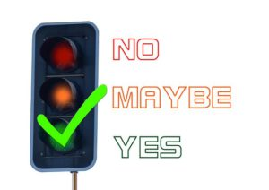 The colorfull illustration of a traffic signal on green, stating yes.