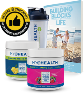 Best health supplements. The picture of several bottles of myohealth, the building locks of life.