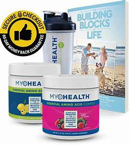 Better health for today. The illustration of Myohealth essential amino acids. The building blocks of life.