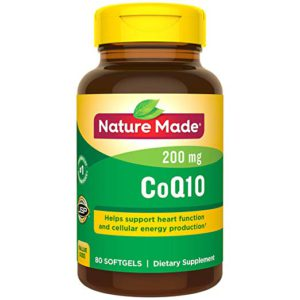 The colorful picture of a bottle of CoQ10, dietery supplement for cholesterol.