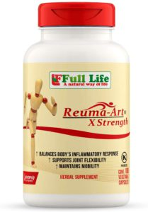 The very well illustrated bottle of Full Life's Reuma-Art, X Strength.