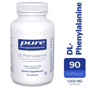 The picture of a bottle of pure DL Phenylalanine supplements.