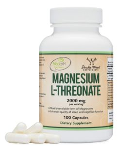 The very colorful bottle of Magnesium dietary supplements.