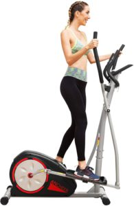 The colrful illustration of a woman exercising on her Ancheer Elliptical Machine Trainer.