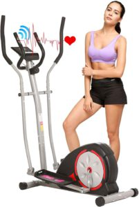 The picture of a woman standing near her Ancheer elliptical trainer depicting a heart.