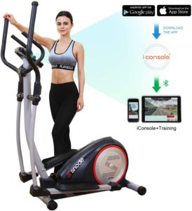 The colorful illustration of a woman standing on her, SNODE-E20i magnetic elliptical machine