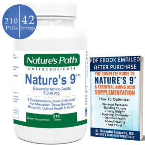 Best Amino Acid Supplements Review. The picture of a bottle of Natures 9, essential amino acids.