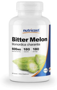 Natural Cures For Diabetes Type 2, The colorful picture of a bottle of Bitter Melon Supplements.